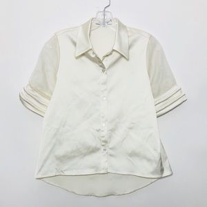 Alexis Sheer Button Down Silk Top Ivory Blouse